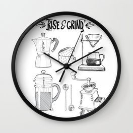 Rise and Grind for the Coffee Lover  Wall Clock