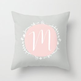 Garland Initial M - Grey Throw Pillow