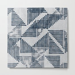 Stripe Triangle Geometric Block Print Pattern in Blue Grey Metal Print