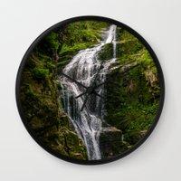 waterfall Wall Clocks featuring Waterfall by Pati Designs