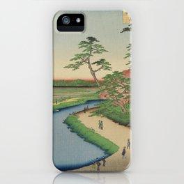 Spring Trees on Aqueduct Ukiyo-e Japanese Art iPhone Case