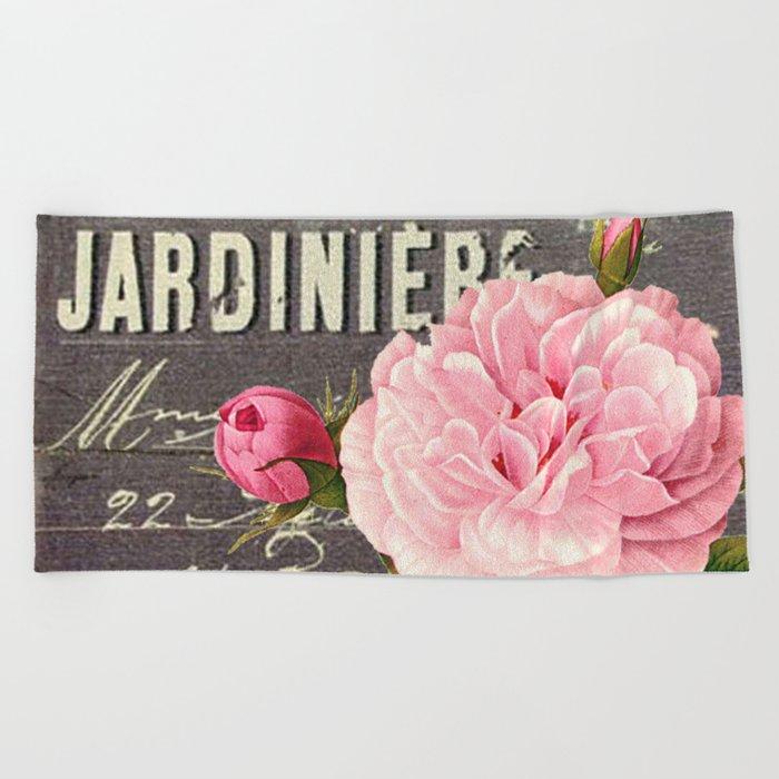 Vintage roses #1 Beach Towel