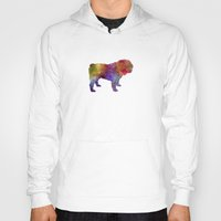 english bulldog Hoodies featuring English Bulldog in watercolor by Paulrommer