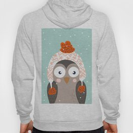Owl Under Snow in the Christmas Time. Hoody