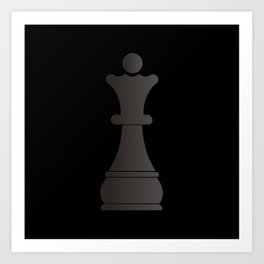 Black queen chess piece Art Print