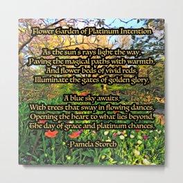 Flower Garden of Platinum Intention Poetry Art Metal Print