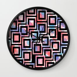 Black and White Squares Pattern 06 Wall Clock