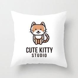 Cute Kitty Studio Logo Template Throw Pillow