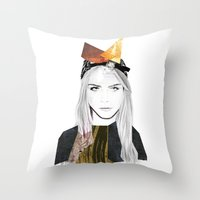 cara delevingne Throw Pillows featuring CARA DELEVINGNE by Nora Fikse