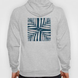 Geometric White on Blue 4 fall tropical pattern Palm leaves, society6 Hoody