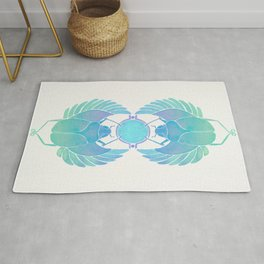 Egyptian Scarab – Turquoise Ombré Rug