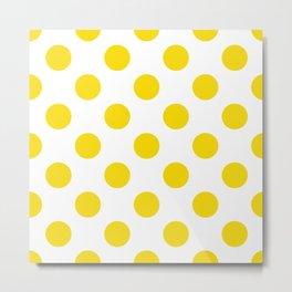 Geometric Orbital Spot Circles In Bright Summer Sun Shine Yellow on White Metal Print