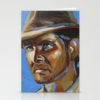 indiana jones Stationery Cards featuring Indiana Jones - Harrison Ford by Buffalo Bonker