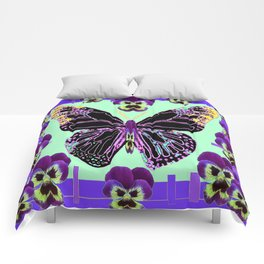 Black Butterfly Jade Green with Purple Violas Abstract Design Comforters