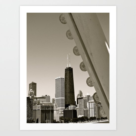 Stark Chicago in Black & White Art Print