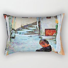 Man observer woman sleeping on the chair in the alley Rectangular Pillow