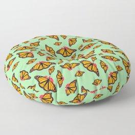 Orange Monarch Butterfly Pattern Floor Pillow