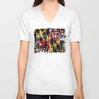 maryland V-neck T-shirts featuring Maryland Flag Print by david zobel