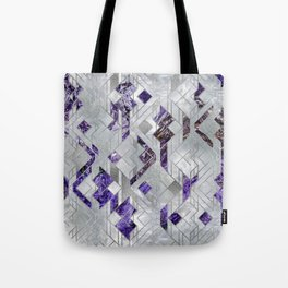 Abstract Geometric Amethyst and Mother of pearl Tote Bag
