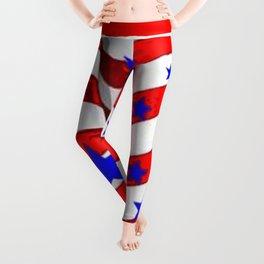 RED PATRIOTIC JULY 4TH BLUE STARS AMERICANA ART Leggings