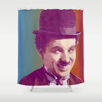 chaplin Shower Curtains featuring Charles Chaplin Low Poly Collection by Giselle LowPoly