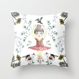 Dance in the flowers Throw Pillow