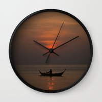 rowing Wall Clocks featuring Sunset by Maria Heyens