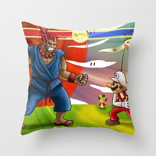 Mario VS. Akuma Throw Pillow