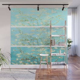 Vincent Van Gogh Almond Blossoms  Panel arT Aqua Seafoam Wall Mural