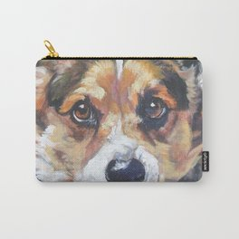 Pembroke Welsh Corgi dog art portrait from an original painting by L.A.Shepard Carry-All Pouch
