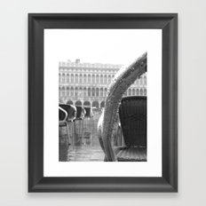 St Mark's Square after rain in black and white Framed Art Print