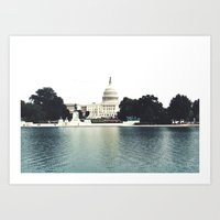 washington dc Art Prints featuring Washington DC by Postcardsbeyond