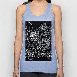 Feminine and Romantic Rose Pattern Line Work Illustration on Black Unisex Tanktop