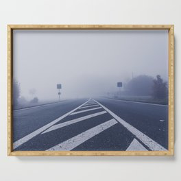 A road in the morning mist Serving Tray