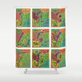 Tiles 1-9 White Shower Curtain