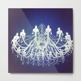 Chandelier | Black and White Photography | Romantic, Sparkly, Dreamy Light Metal Print
