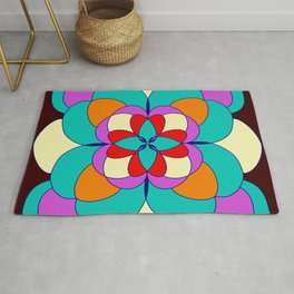 Faux Stained Glass // Stained Glass // Mandala Design // Vibrant Rug