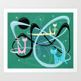 Atomic Rocket Cats In Space Art Print