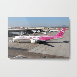 Delta Airlines Pink 757-200 Metal Print