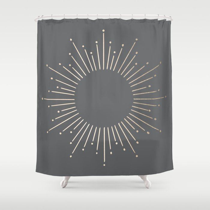 Simply Sunburst In White Gold Sands On Storm Gray Shower Curtain By Followmeinstead