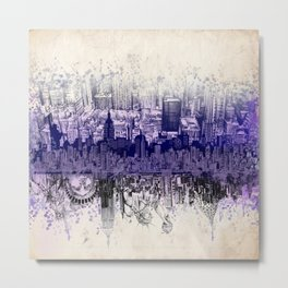 New York skyline drawing collage 2 Metal Print