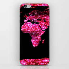 World Map : Pink Galaxy Sparkle iPhone Skin