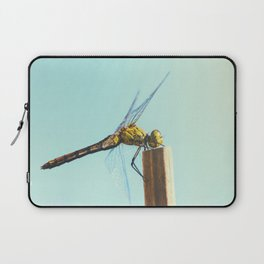 Beautiful colorful dragonfly insect close-up resting on dried bamboo stick in summer Laptop Sleeve