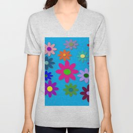 Flower Power - Blue Background - Fun Flowers - 60's Hippie Style Unisex V-Neck
