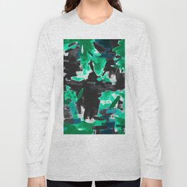 psychedelic vintage camouflage painting texture abstract in green and black Long Sleeve T-shirt