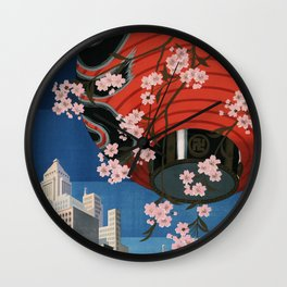 Tokyo, travel poster, 1930s Wall Clock