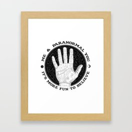 Me & Paranormal You - James Roper Design - Palmistry B&W (black lettering) Framed Art Print