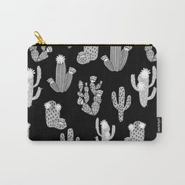 Cactus linocut black and white minimal desert southwest socal joshua tree Carry-All Pouch