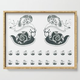 Large snails with Indian ornaments Serving Tray
