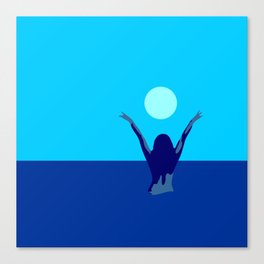 Blue sky and moon is calling me.. Canvas Print